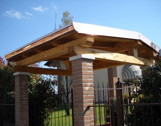 Pensiline e tettoie in legno coperture civili civer snc for Civer coperture